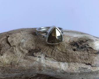 Faceted Pyrite Ring