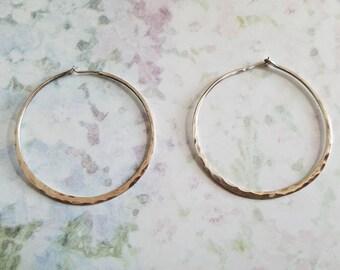 Vintage Hammered Sterling Silver Hoop Earrings 1990s Pierced Ears