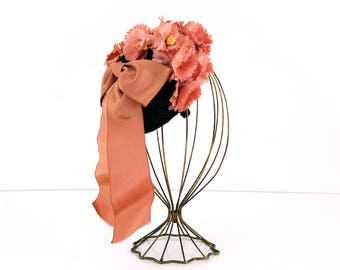 Vintage Fascinator / Pink floral ribbon hat