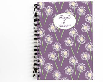 Pretty Journal 5x7 Inches with 80 Unlined Sheets, Beautiful Spiral Notebook for Writing, Art by Christina Steward,  Dandelions Notebook