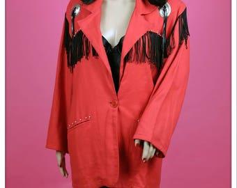 Vintage Red and Black Fringe Western Bedazzled Jacket