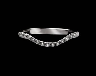 Sterling Silver Diamond Necklace Ring //  Custom Curved Wedding Ring