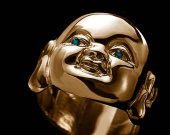 Budai Blue Eyes Ring // Quirky Funky Weird Gold Face Ring with Blue Diamond Eyes