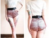 1940s Shorts // Bombshell Dance Costume Sateen Shorts // vintage 40s striped shorts