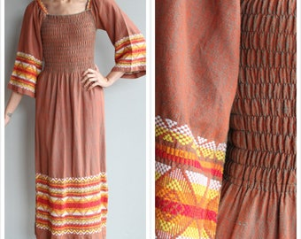 1960s Dress // Guatemalan Sunset Maxi Dress // vintage 60s dress