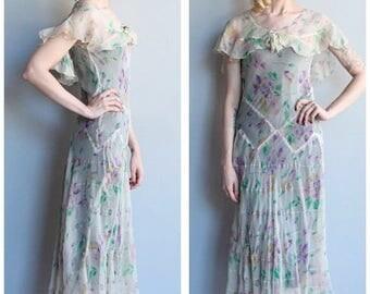 25% Off Sale // 1930s Dress // Silk Chiffon Floral Dress // vintage 30s dress