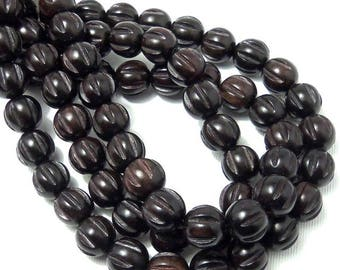 Ebony Wood Bead, 12mm, Round, Carved, Grooved, Melon Cut, Natural Wood Beads, Large, 16 Inch Strand - ID 2298