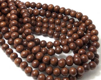 Magkuno Wood Bead, 8mm, Dark Brown, Round, Small, Smooth, Natural Wood Beads, 16 Inch Strand - ID 1372-DK