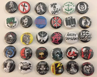 Punk Rock Buttons Pins Classic 80s Hardcore Bands 1 Inch Size Lot of 30 Badges
