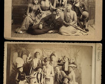 Two 1890s Cabinet Card Photo - Great Group Shots! w ID'd Oakley Family Members