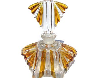 Cut Glass Perfume Bottle Vintage German Clear Glass with Amber Coloring Art Deco Revival Mid Century Large Bottle