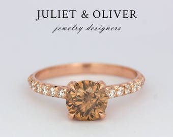Champagne Diamond Engagement Ring in Rose Gold - Solitaire Engagement Rings - Diamond Engagement Ring