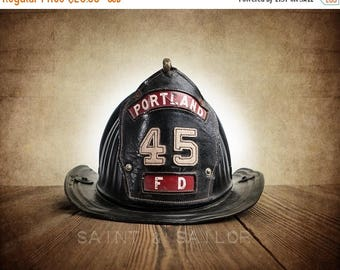 FLASH SALE til MIDNIGHT Vintage Fireman helmet Photo Art Print, Portland Fd 45, 12 Sizes Available from Print to Mounted Canvas