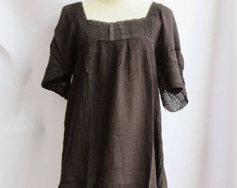 ON SALE 40% off, D24,Brown Butterfly Effect Cotton Dress