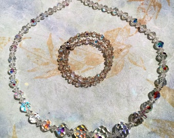 Aurora Borealis Crystal Necklace and Bracelet