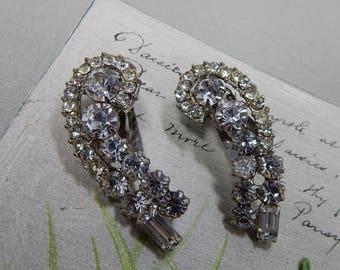 """JULIANA Clear Rhinestone Crescent Shape Clip On Earrings 1.1/2""""   OAT35"""