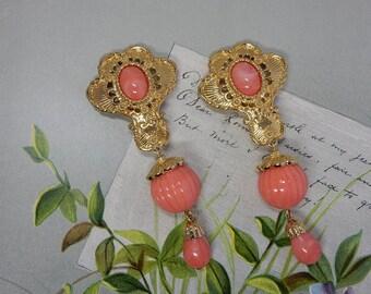 Jose Barrera for Avon Gold & Coral Dangle Earrings    PG25
