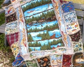 Large Rag Quilt Summer Vacation Lap Throw Quilt Fathers Day Camping Fishing Lake Stream Cabin in Woods Mountain Lodge Canoes   Ready to Ship