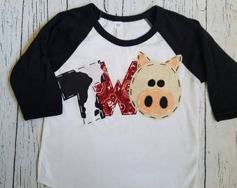 Pig birthday shirt, petting zoo, two, pig, 2nd,  t shirt, barn yard, farm theme, boy white, raglan top