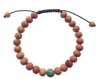 Wood Bead Wrist Mala Bracelet with Tibetan Turquoise Spacer
