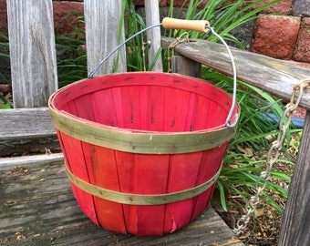 Red Bushel Basket Harvest Split Wood Handle Vintage Farmhouse