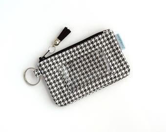 Keychain Wallet - Cute Wallet - Student ID Holder - Minimalist Wallet - Keychain ID Wallet - Credit Card Wallet - Zip ID Case - Houndstooth