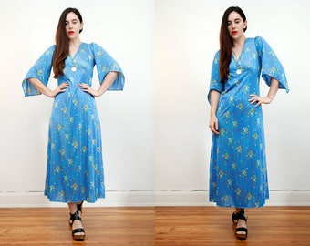 Vintage Floral Kimono Batik Hippie Angel Sleeve Kaftan Boho Maxi Dress 70's