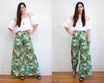Vintage Floral Tropical Pant Palazzo High Waist Wide Leg Trousers