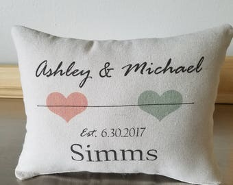 Custom wedding pillows wedding date throw pillow throw pillows 2nd anniversary gift cotton personalized pillow couples gift names cushion