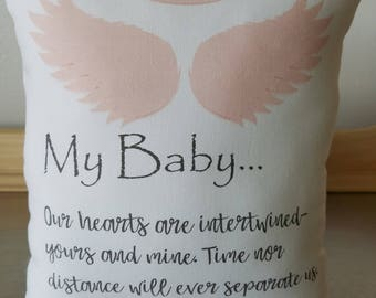 Miscarriage gift pillows baby memory throw pillow loss of baby keepsake loss of child cushion sympathy gifts miscarriage memorial pillow