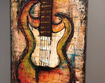 Custom- Modern Contemporary textured abstract Guitar painting