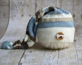 Upcycled Newborn Elf Hat  Newborn Boy Photo Prop Hat with Natural Wood Button Newborn Striped Hat - Ivory Blue Taupe and Brown READY TO SHIP