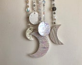 Crescent moon wall hanging, ceramic moon sun catcher, iridescent home decor, large moon with vintage glass and crystal beads.