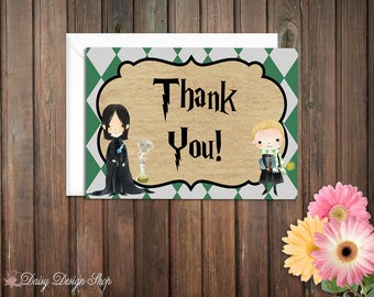 Thank You Cards - Harry Potter Slytherin House Colors - Set of 10 with Envelopes