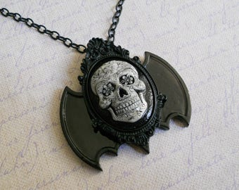 Gothic Lolita sugar skull cameo bat wings necklace day of the dead