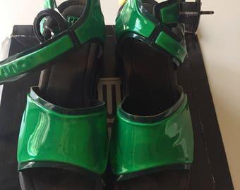 90s rave green reflector platform sandals 9