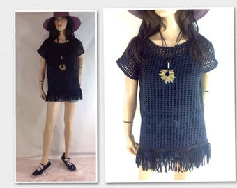 Vintage Coverup Fringe Shirt Women's Bathing Suit Cover Up Size Medium Black Tunic Boho Top Beach Dress Open Knit Top 42 in bust