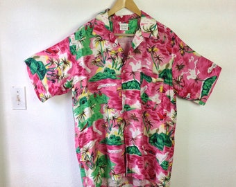 Vintage Jamaica Shirt Men's Hawaiian Shirt Pink and Green size XL Extra Large 49 chest Palm Trees Town City Spell Out National Sports Shirts