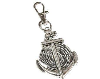 FLASH SALE Silver Toned Medium Rope & Anchor Keychain Key Fob