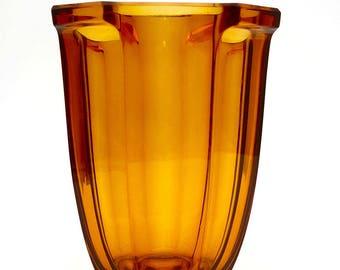 30s Belgium Val St Lambert Art Deco Amber Glass Streamline Modern Machine Age Design SKLO UNION CZECH Rudolf Schrötter Inwald Rudolfova Hut