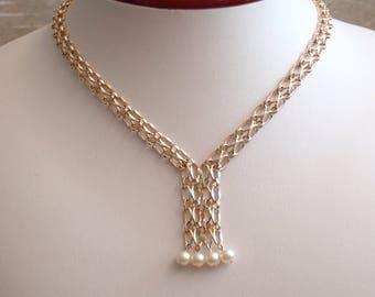 Pearl Tassel Necklace Choker Winard Gold Filled Chain Mesh Vintage 050216RV