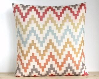 Zigzag pillow cover, 16x16, 18x18, 20x20 pillow sham, Scandinavian cover, Zigzag Pillowcase, Orange Pillow Cover - Scandi Zigzag Spice