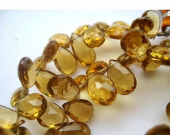 ON SALE 55% Beer Quartz Beads, Pear Beads, Faceted Briolette Beads, Faceted Beer Quartz, 5x8mm To 7x11mm, 4.5 InchHalf Strand, 30 Pieces App