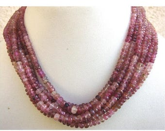 ON SALE 50% Wholesale Pink Tourmaline Lot - 5 Strands Shaded Pink Tourmaline Faceted Rondelles - 5mm To 3mm - 16 Inches Each