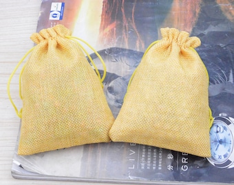20 gift bags, linen bags, jewelry bags, yellow favor bags, gift bag linen, Natural linen gift bag, linen favor bag, candy bags 5.25''x3.75''