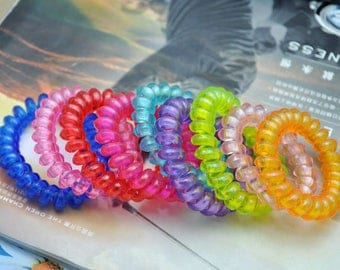 50 Assorted color telephone wire hair ties, Transparent Telephone cord headbands, telephone wire hair bands, plastic ponytail holders