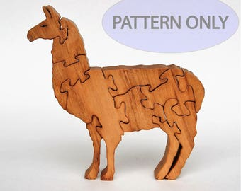 Llama Wooden Puzzle Scrollsaw Pattern PDF Digital Download Woodworking Plan Wood Puzzle Patterns Farm Animal Country Rural