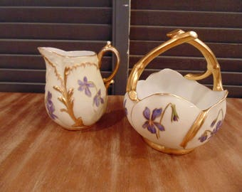 Hand Painted Martial Redon LIMOGES pitcher and basket  with violets