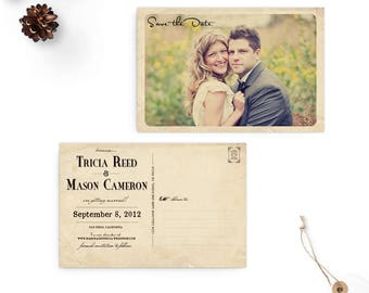 "Unique wedding save the dates, Save the date postcard, Vintage save the date card - the ""Tricia"""