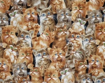 ON SALE Adorable Packed Kitten Faces Print Pure Cotton Fabrics--One Yard